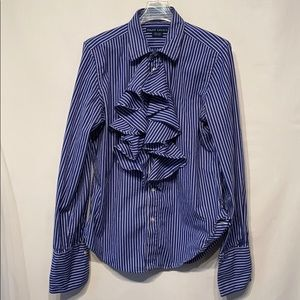Ralph Lauren Blue Striped Ruffle Blouse Size 14